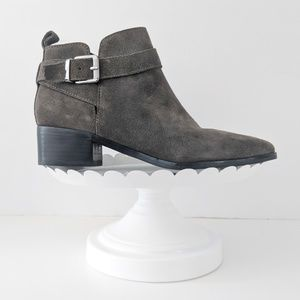 Marc Fisher | Grey Suede Pointed Buckle Ankle Boot